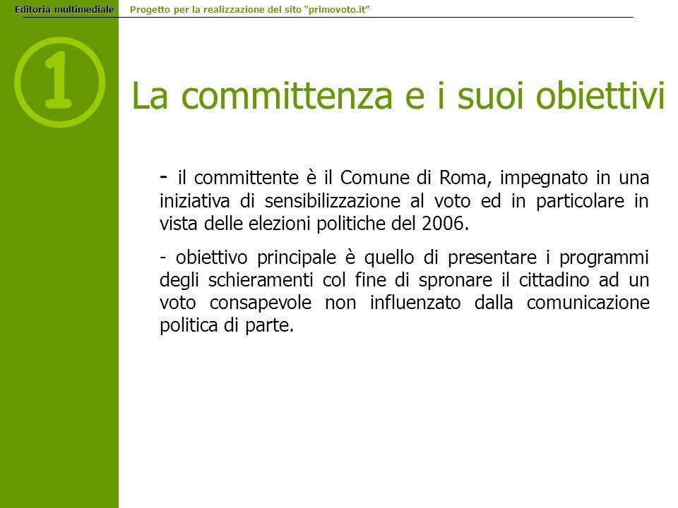 Editoria multimediale Editoria multimediale Progetto per la realizzazione del sito primovoto.it 1 La committenza e i suoi obiettivi - il committente è il Comune di Roma, impegnato in una iniziativa di sensibilizzazione al voto ed in particolare in vista delle elezioni politiche del 2006.