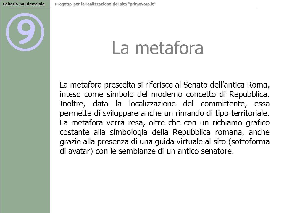 9 La metafora Editoria multimediale Progetto per la realizzazione del sito primovoto.it La metafora prescelta si riferisce al Senato dellantica Roma, inteso come simbolo del moderno concetto di Repubblica.