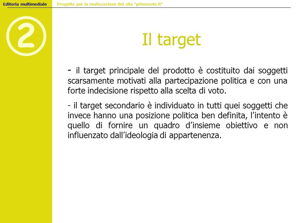 2 Editoria multimediale Editoria multimediale Progetto per la realizzazione del sito primovoto.it - il target principale del prodotto è costituito dai
