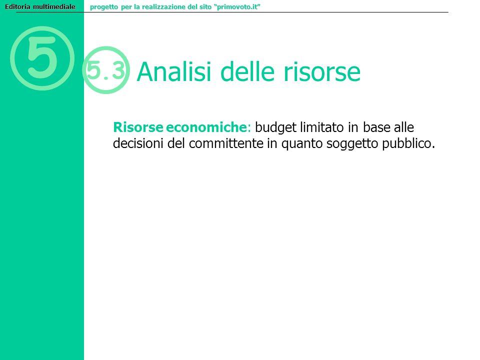 5 5.3 Analisi delle risorse Risorse economiche: budget limitato in base alle decisioni del committente in quanto soggetto pubblico. Editoria multimedi