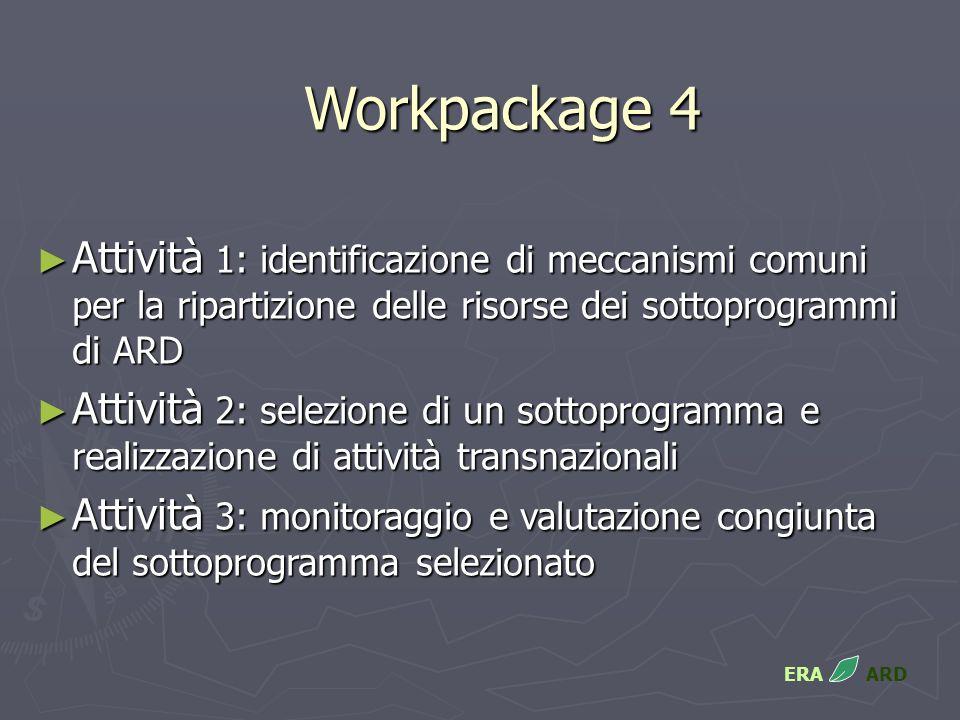 Workpackage 4 Attività 1: identificazione di meccanismi comuni per la ripartizione delle risorse dei sottoprogrammi di ARD Attività 1: identificazione di meccanismi comuni per la ripartizione delle risorse dei sottoprogrammi di ARD Attività 2: selezione di un sottoprogramma e realizzazione di attività transnazionali Attività 2: selezione di un sottoprogramma e realizzazione di attività transnazionali Attività 3: monitoraggio e valutazione congiunta del sottoprogramma selezionato Attività 3: monitoraggio e valutazione congiunta del sottoprogramma selezionato ERA ARD