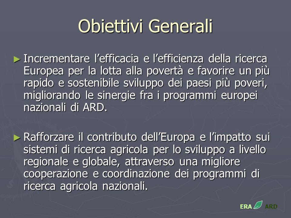 Obiettivi Generali Incrementare lefficacia e lefficienza della ricerca Europea per la lotta alla povertà e favorire un più rapido e sostenibile sviluppo dei paesi più poveri, migliorando le sinergie fra i programmi europei nazionali di ARD.