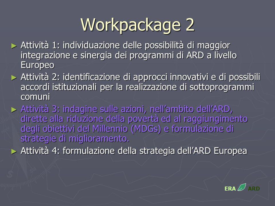 Workpackage 2 Attività 1: individuazione delle possibilità di maggior integrazione e sinergia dei programmi di ARD a livello Europeo Attività 1: individuazione delle possibilità di maggior integrazione e sinergia dei programmi di ARD a livello Europeo Attività 2: identificazione di approcci innovativi e di possibili accordi istituzionali per la realizzazione di sottoprogrammi comuni Attività 2: identificazione di approcci innovativi e di possibili accordi istituzionali per la realizzazione di sottoprogrammi comuni Attività 3: indagine sulle azioni, nellambito dellARD, dirette alla riduzione della povertà ed al raggiungimento degli obiettivi del Millennio (MDGs) e formulazione di strategie di miglioramento.