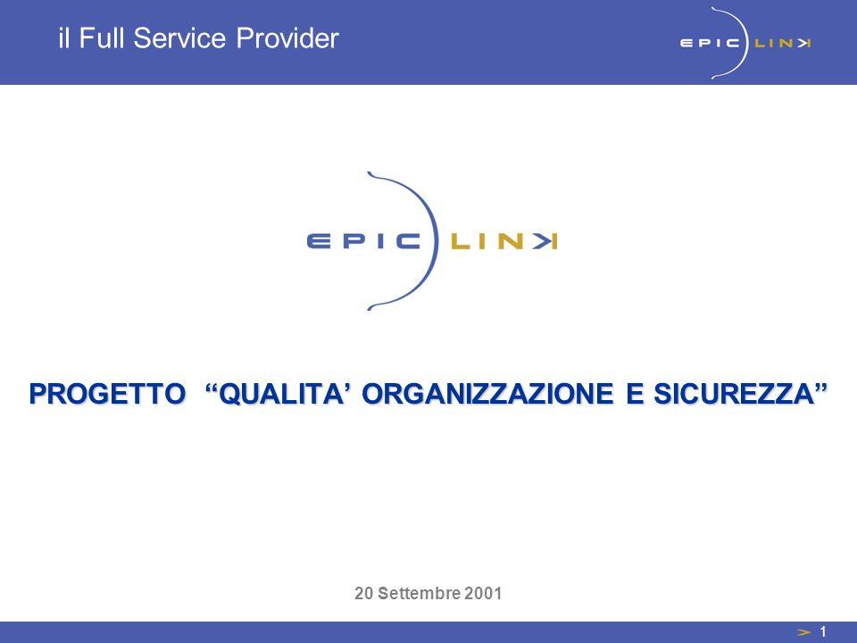 1 il Full Service Provider PROGETTO QUALITA ORGANIZZAZIONE E SICUREZZA 20 Settembre 2001
