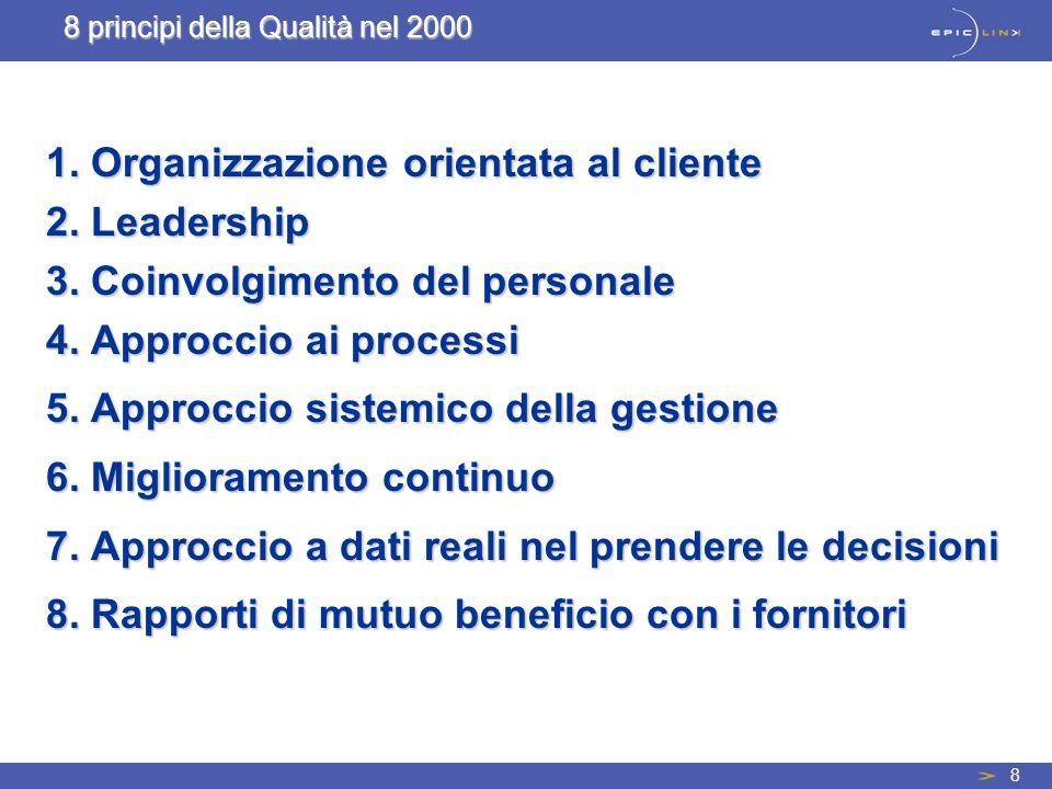 8 1. Organizzazione orientata al cliente 2. Leadership 3. Coinvolgimento del personale 4. Approccio ai processi 5. Approccio sistemico della gestione