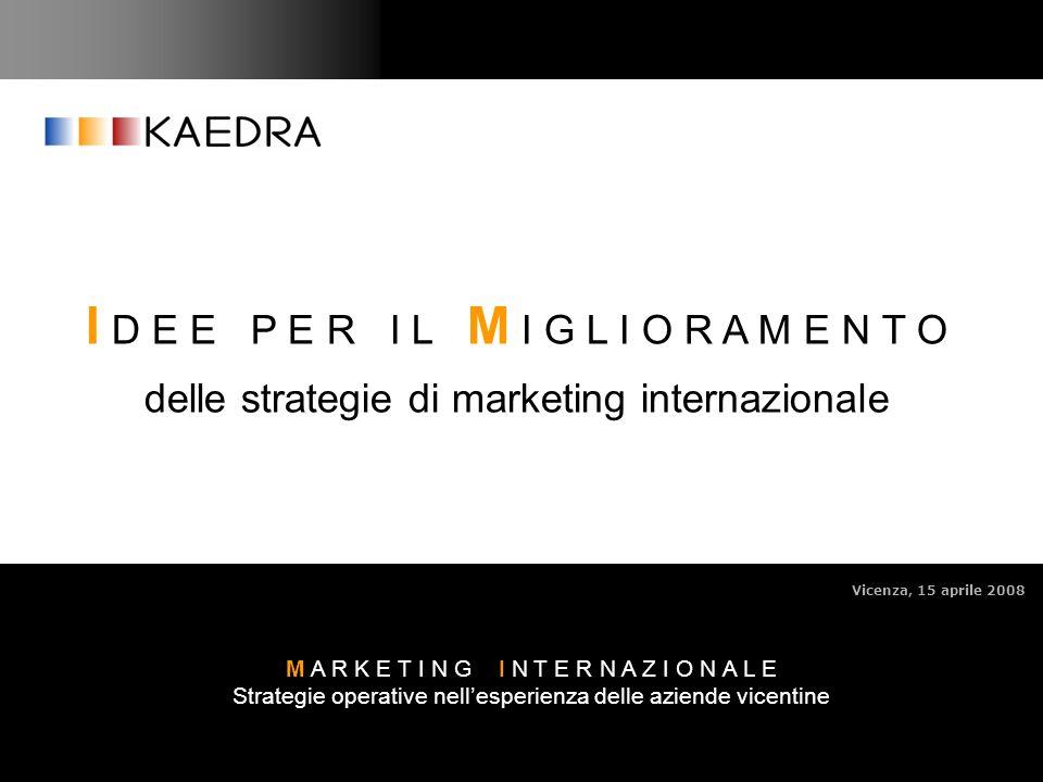 KAEDRA S.r.l. 1 M A R K E T I N G I N T E R N A Z I O N A L E Strategie operative nellesperienza delle aziende vicentine Vicenza, 15 aprile 2008 I D E