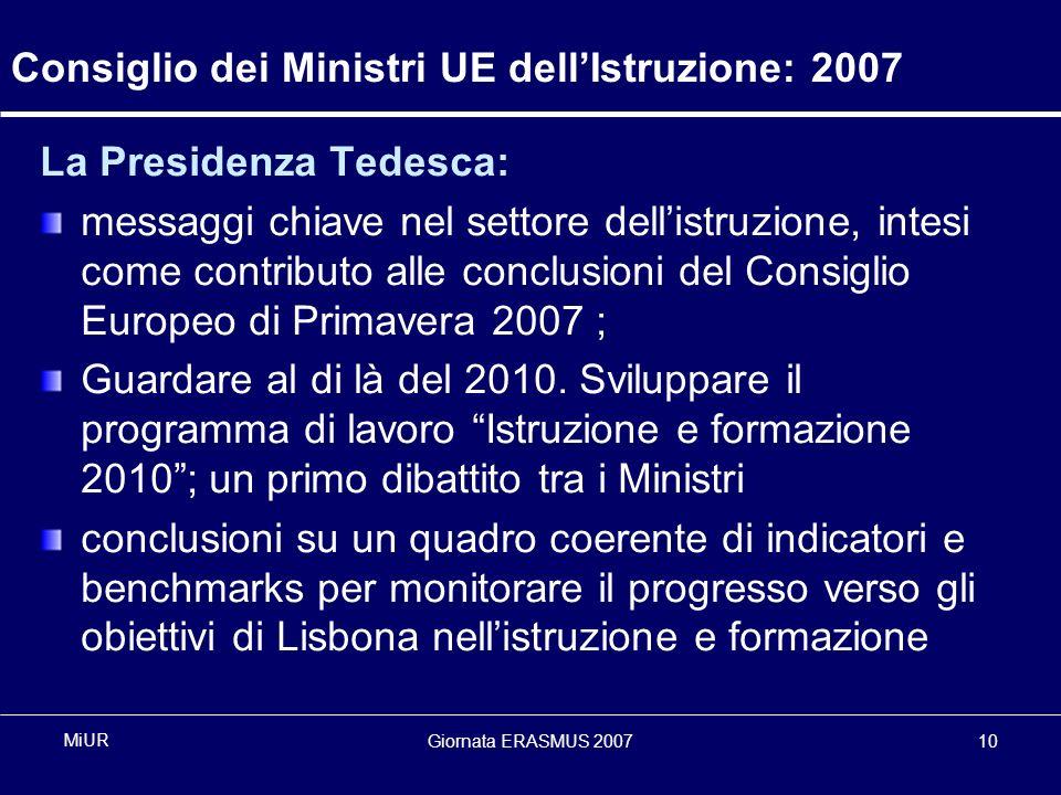 Giornata ERASMUS 200710 MiUR Consiglio dei Ministri UE dellIstruzione: 2007 La Presidenza Tedesca: messaggi chiave nel settore dellistruzione, intesi come contributo alle conclusioni del Consiglio Europeo di Primavera 2007 ; Guardare al di là del 2010.