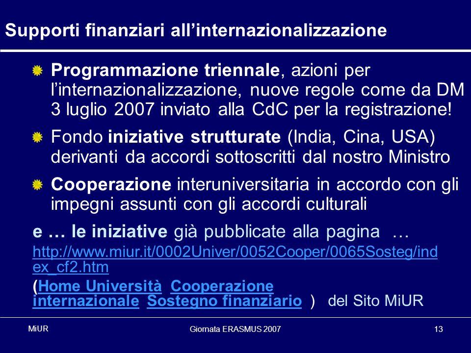 Giornata ERASMUS 200713 MiUR Supporti finanziari allinternazionalizzazione Programmazione triennale, azioni per linternazionalizzazione, nuove regole come da DM 3 luglio 2007 inviato alla CdC per la registrazione.