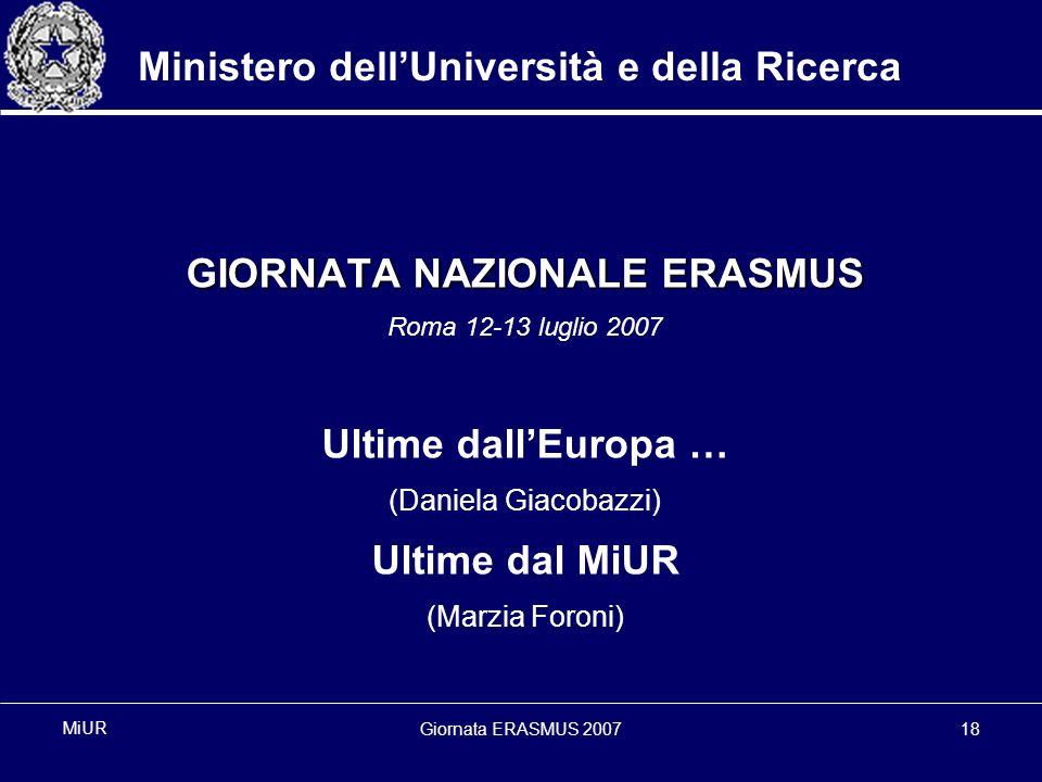 Giornata ERASMUS 200718 MiUR Ministero dellUniversità e della Ricerca GIORNATA NAZIONALE ERASMUS Roma 12-13 luglio 2007 Ultime dallEuropa … (Daniela Giacobazzi) Ultime dal MiUR (Marzia Foroni)