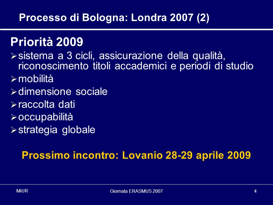 Giornata ERASMUS 20075 MiUR Consiglio dei Ministri UE dellIstruzione: 2006 (1) From Bergen to London – The EU Contribution, Commission Progress Report (January 2006) Modernising education and training: a vital contribution to prosperity and social cohesion in Europe - 2006 Joint Interim Report of the Council and the Commission on progress under the Education & Training 2010 work programme (February 2006) Further European cooperation in quality assurance in higher education, Recommendation of the EP and of the Council (February 2006)