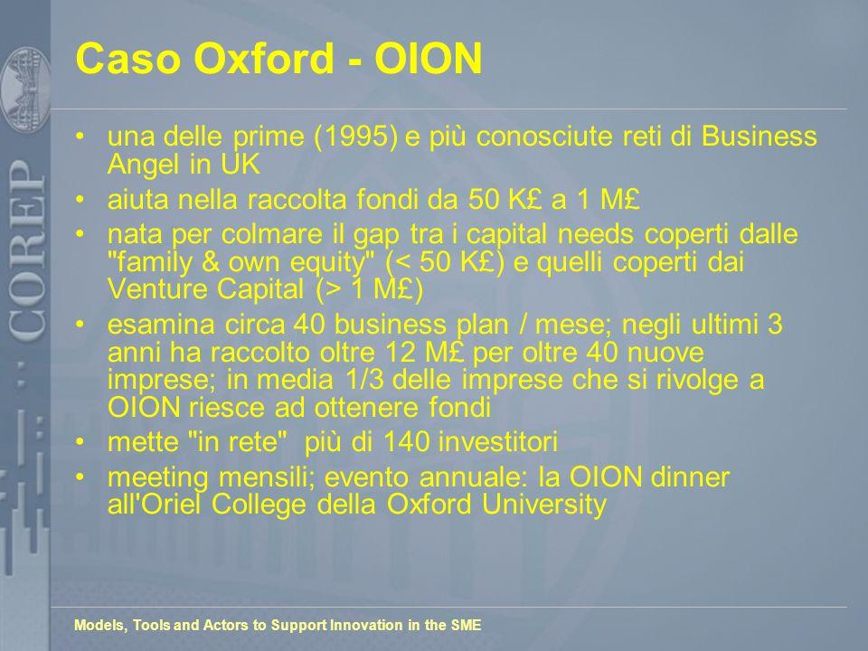 Models, Tools and Actors to Support Innovation in the SME Caso Oxford - OION una delle prime (1995) e più conosciute reti di Business Angel in UK aiut