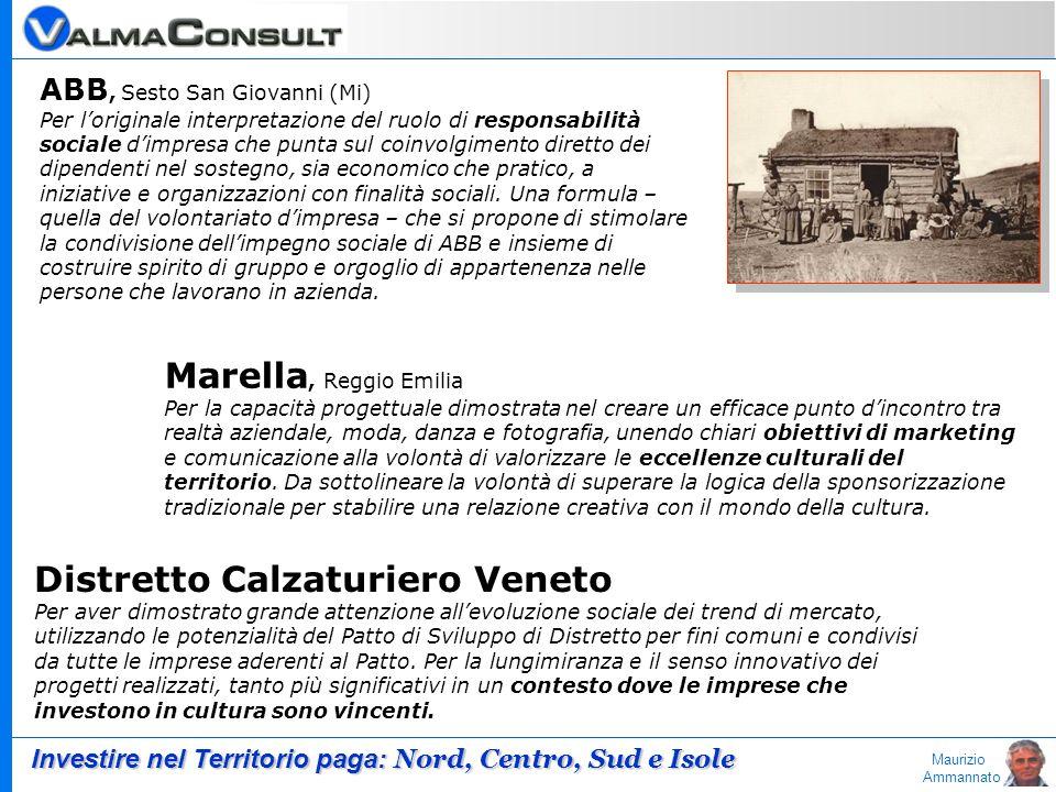 Maurizio Ammannato ABB, Sesto San Giovanni (Mi) Per loriginale interpretazione del ruolo di responsabilità sociale dimpresa che punta sul coinvolgimen