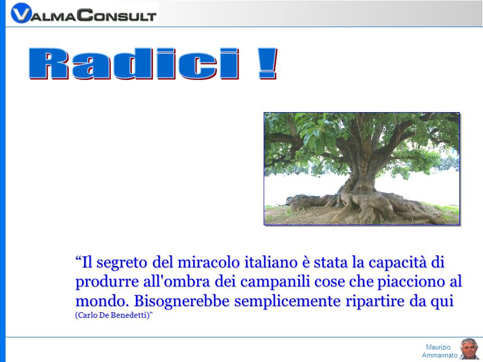 Maurizio Ammannato Il segreto del miracolo italiano è stata la capacità di produrre all'ombra dei campanili cose che piacciono al mondo. Bisognerebbe