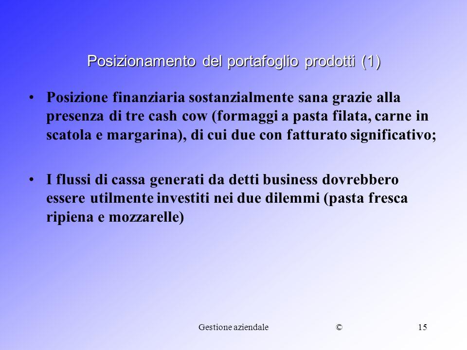 ©Gestione aziendale15 Posizione finanziaria sostanzialmente sana grazie alla presenza di tre cash cow (formaggi a pasta filata, carne in scatola e mar