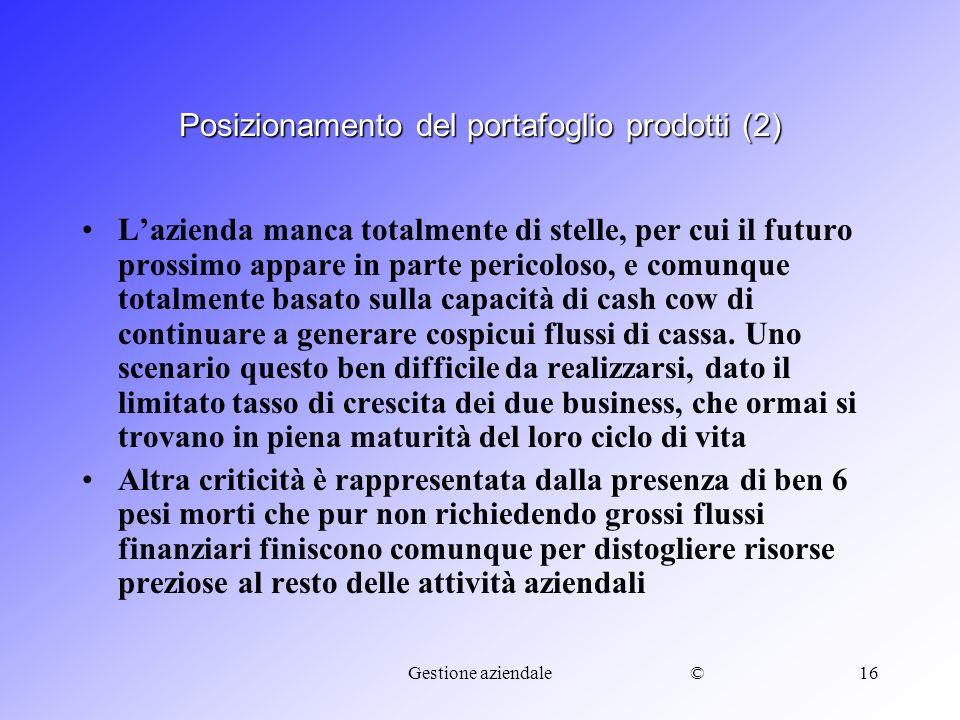 ©Gestione aziendale16 Posizionamento del portafoglio prodotti (2) Lazienda manca totalmente di stelle, per cui il futuro prossimo appare in parte peri