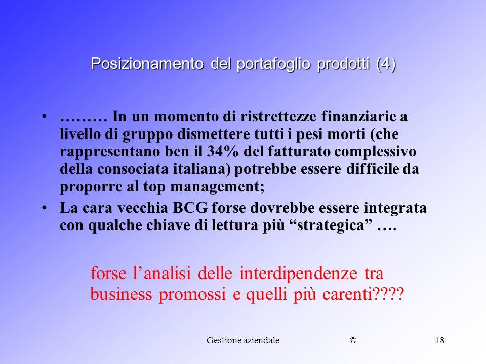 ©Gestione aziendale18 Posizionamento del portafoglio prodotti (4) ……… In un momento di ristrettezze finanziarie a livello di gruppo dismettere tutti i