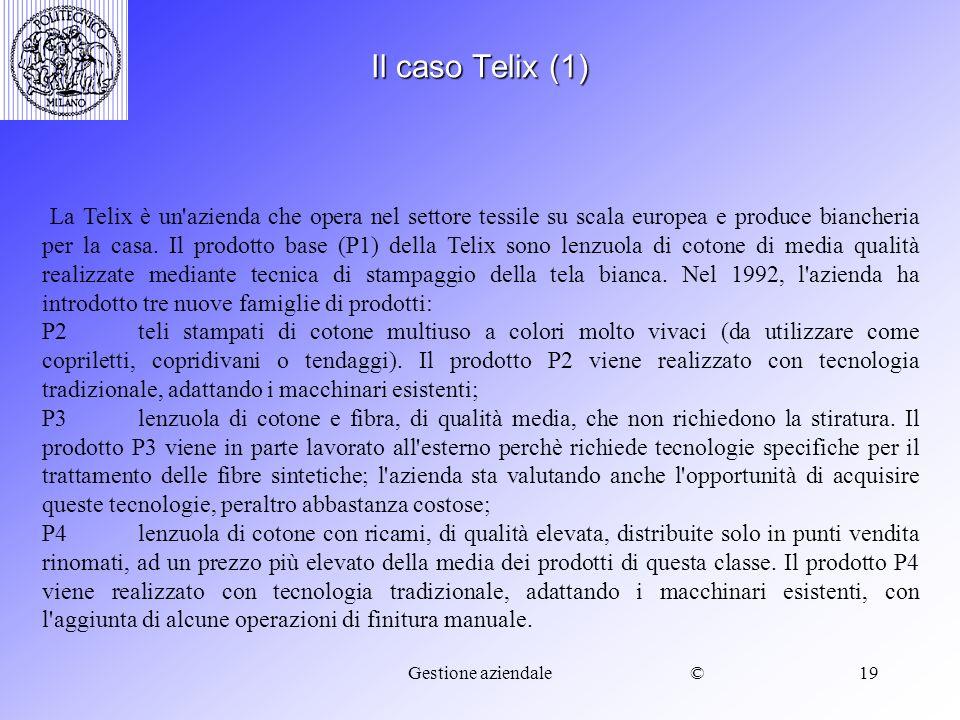 ©Gestione aziendale19 Il caso Telix (1) La Telix è un'azienda che opera nel settore tessile su scala europea e produce biancheria per la casa. Il prod