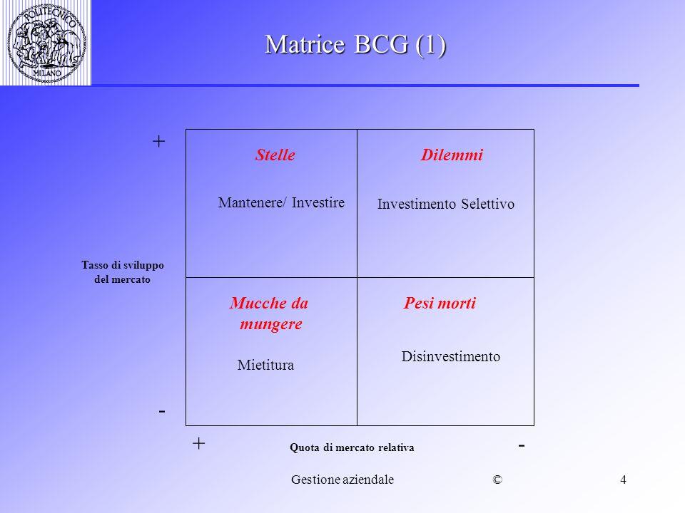 ©Gestione aziendale4 Matrice BCG (1) Quota di mercato relativa Tasso di sviluppo del mercato + - - + StelleDilemmi Mucche da mungere Pesi morti Mantenere/ Investire Investimento Selettivo Mietitura Disinvestimento
