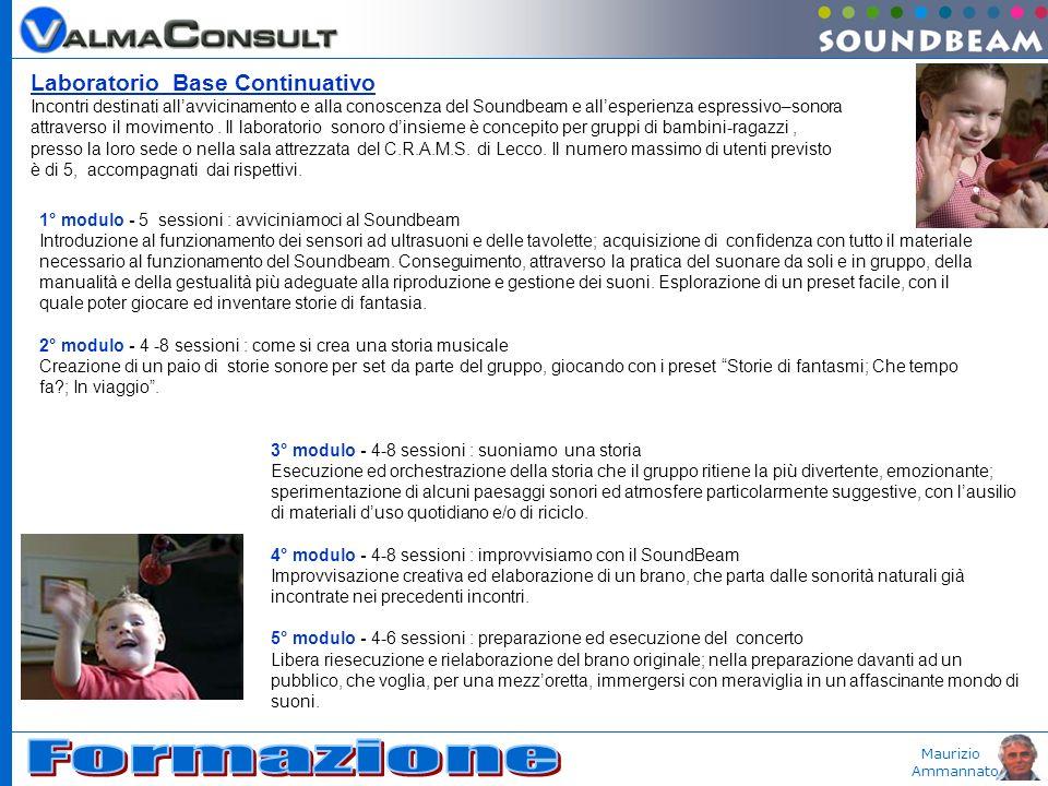 Maurizio Ammannato Laboratorio Base Continuativo Incontri destinati allavvicinamento e alla conoscenza del Soundbeam e allesperienza espressivo–sonora attraverso il movimento.