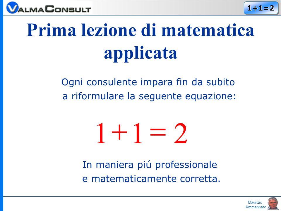 Maurizio Ammannato 1+1=21+1=2 Ogni consulente impara fin da subito a riformulare la seguente equazione: 211 In maniera piú professionale e matematicamente corretta.