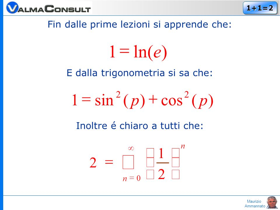 Maurizio Ammannato 1+1=21+1=2 Fin dalle prime lezioni si apprende che: )ln(1e E dalla trigonometria si sa che: )(cos)(sin1 22 pp Inoltre é chiaro a tu