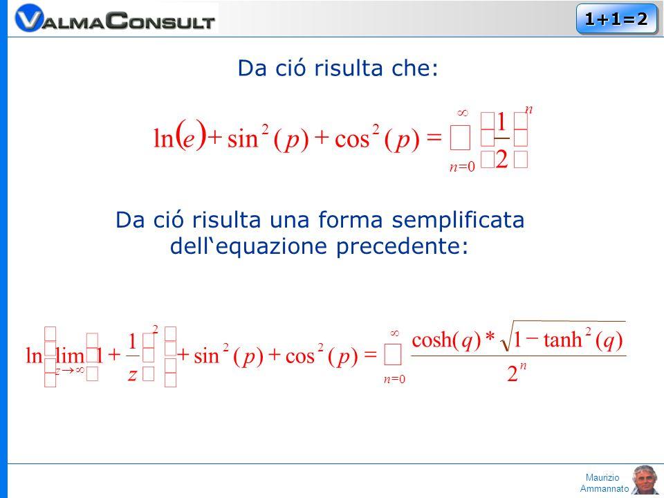 Maurizio Ammannato 1+1=21+1=2 Da ció risulta che: n n ppe 0 22 2 1 )(cos)(sinln Da ció risulta una forma semplificata dellequazione precedente: 0 2 22