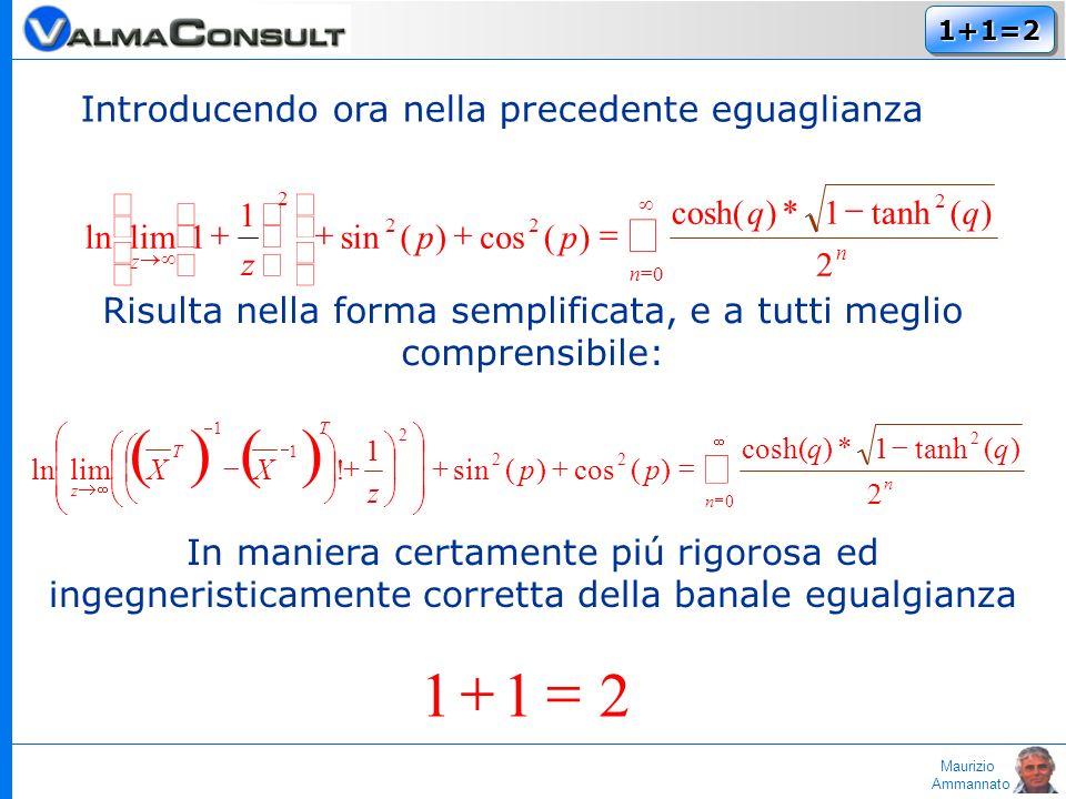 Maurizio Ammannato 1+1=21+1=2 Introducendo ora nella precedente eguaglianza 0 2 22 2 2 )(tanh1*)cosh( )(cos)(sin 1 1limln n n z qq pp z Risulta nella forma semplificata, e a tutti meglio comprensibile: 0 2 22 2 1 1 2 )(tanh1*)cosh( )(cos)(sin 1 !limln n n T T z qq pp z XX In maniera certamente piú rigorosa ed ingegneristicamente corretta della banale egualgianza 211