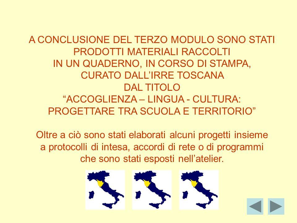 A CONCLUSIONE DEL TERZO MODULO SONO STATI PRODOTTI MATERIALI RACCOLTI IN UN QUADERNO, IN CORSO DI STAMPA, CURATO DALLIRRE TOSCANA DAL TITOLO ACCOGLIENZA – LINGUA - CULTURA: PROGETTARE TRA SCUOLA E TERRITORIO Oltre a ciò sono stati elaborati alcuni progetti insieme a protocolli di intesa, accordi di rete o di programmi che sono stati esposti nellatelier.