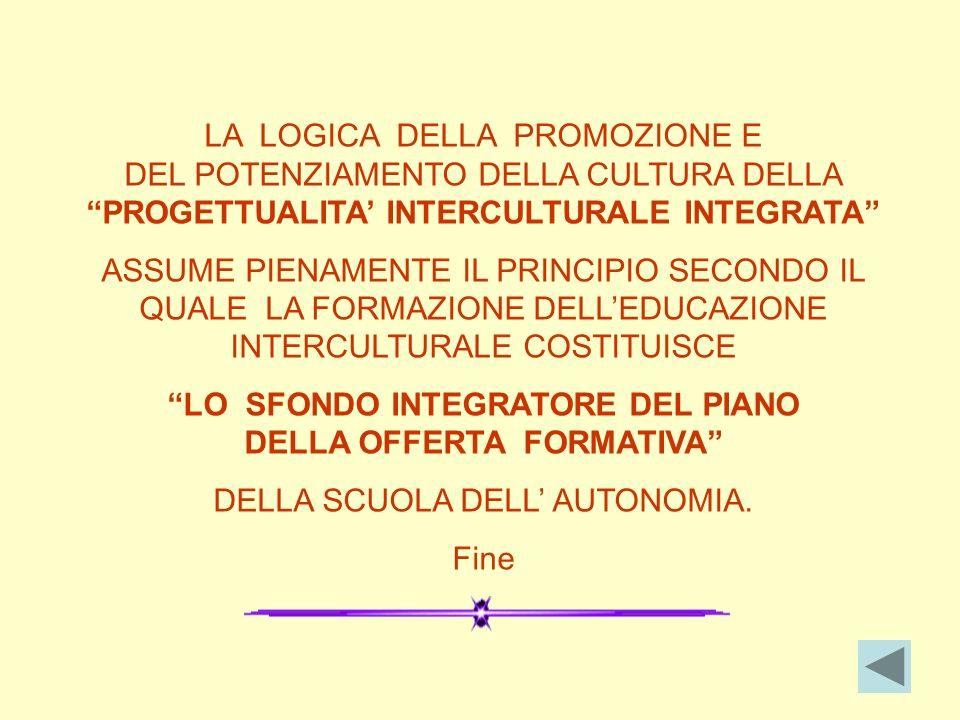 LA LOGICA DELLA PROMOZIONE E DEL POTENZIAMENTO DELLA CULTURA DELLA PROGETTUALITA INTERCULTURALE INTEGRATA ASSUME PIENAMENTE IL PRINCIPIO SECONDO IL QUALE LA FORMAZIONE DELLEDUCAZIONE INTERCULTURALE COSTITUISCE LO SFONDO INTEGRATORE DEL PIANO DELLA OFFERTA FORMATIVA DELLA SCUOLA DELL AUTONOMIA.