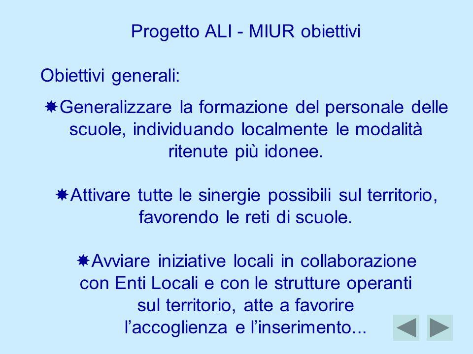 Progetto ALI - MIUR obiettivi Obiettivi generali: Generalizzare la formazione del personale delle scuole, individuando localmente le modalità ritenute più idonee.