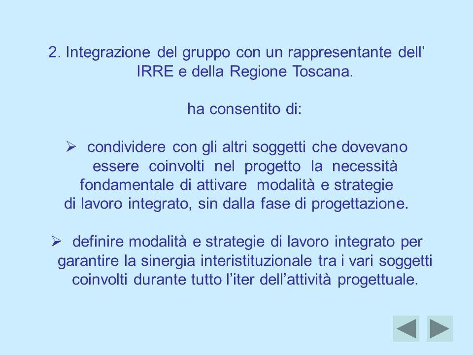 2.Integrazione del gruppo con un rappresentante dell IRRE e della Regione Toscana.