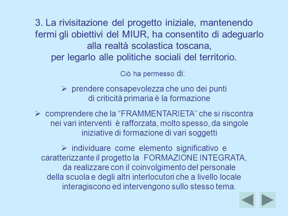 3. La rivisitazione del progetto iniziale, mantenendo fermi gli obiettivi del MIUR, ha consentito di adeguarlo alla realtà scolastica toscana, per leg