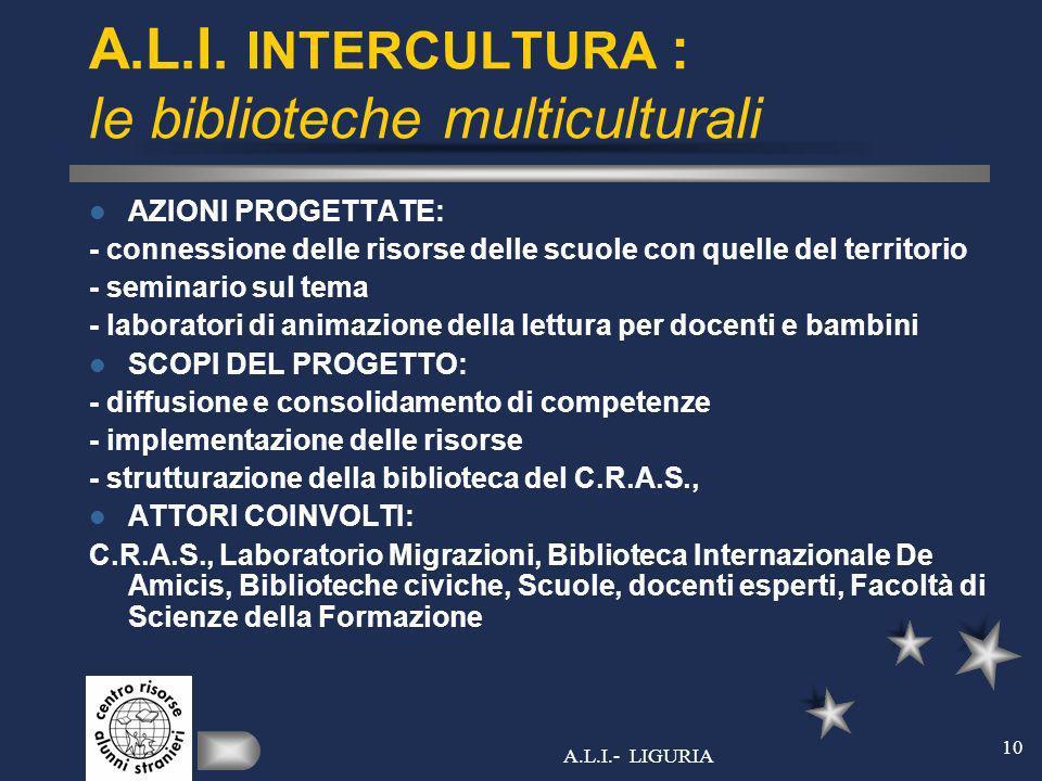 A.L.I.- LIGURIA 10 A.L.I. INTERCULTURA : le biblioteche multiculturali AZIONI PROGETTATE: - connessione delle risorse delle scuole con quelle del terr