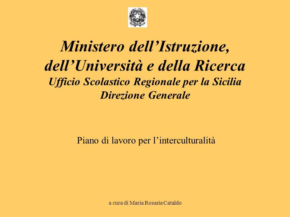 a cura di Maria Rosaria Cataldo Piano di lavoro per linterculturalità Ministero dellIstruzione, dellUniversità e della Ricerca Ufficio Scolastico Regi