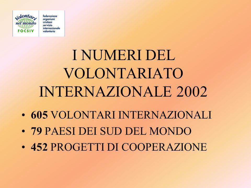 I NUMERI DEL VOLONTARIATO INTERNAZIONALE 2002 605 VOLONTARI INTERNAZIONALI 79 PAESI DEI SUD DEL MONDO 452 PROGETTI DI COOPERAZIONE