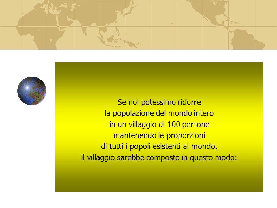Se noi potessimo ridurre la popolazione del mondo intero in un villaggio di 100 persone mantenendo le proporzioni di tutti i popoli esistenti al mondo, il villaggio sarebbe composto in questo modo:
