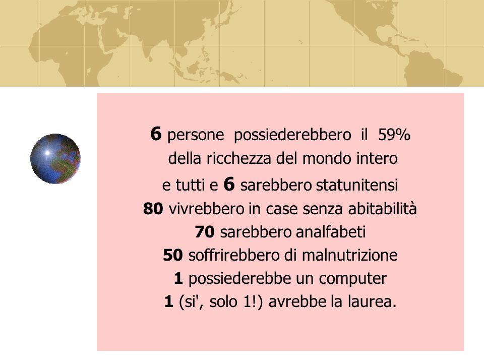 6 persone possiederebbero il 59% della ricchezza del mondo intero e tutti e 6 sarebbero statunitensi 80 vivrebbero in case senza abitabilità 70 sarebbero analfabeti 50 soffrirebbero di malnutrizione 1 possiederebbe un computer 1 (si , solo 1!) avrebbe la laurea.