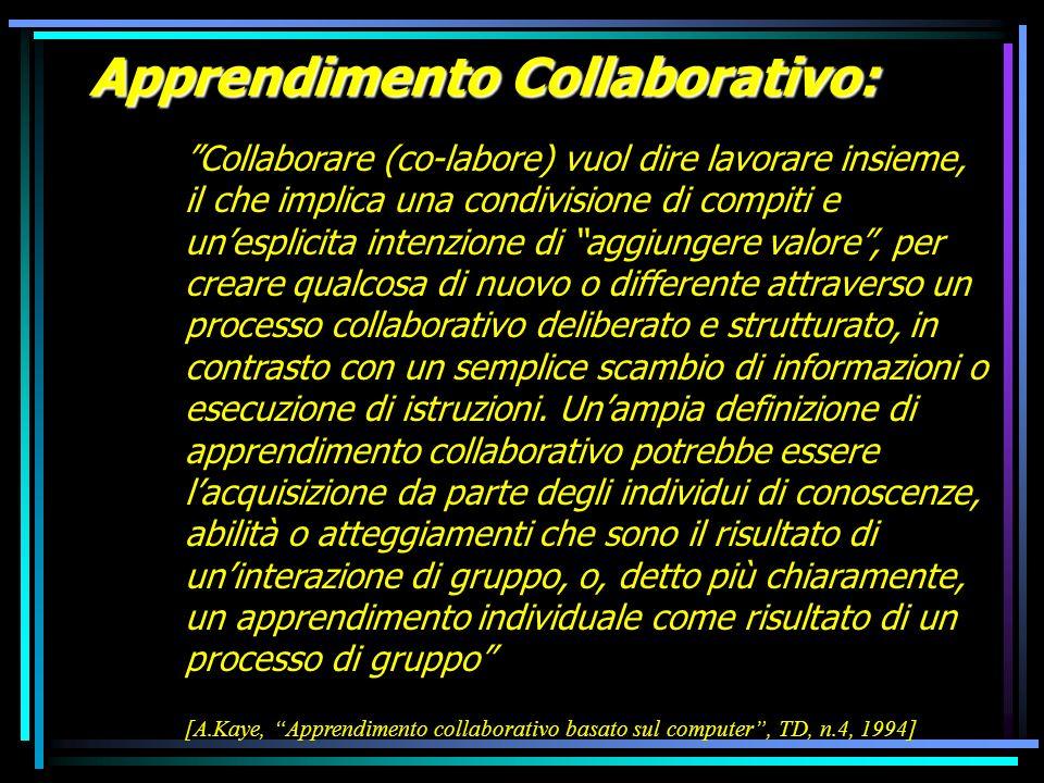 Apprendimento Collaborativo: Collaborare (co-labore) vuol dire lavorare insieme, il che implica una condivisione di compiti e unesplicita intenzione d
