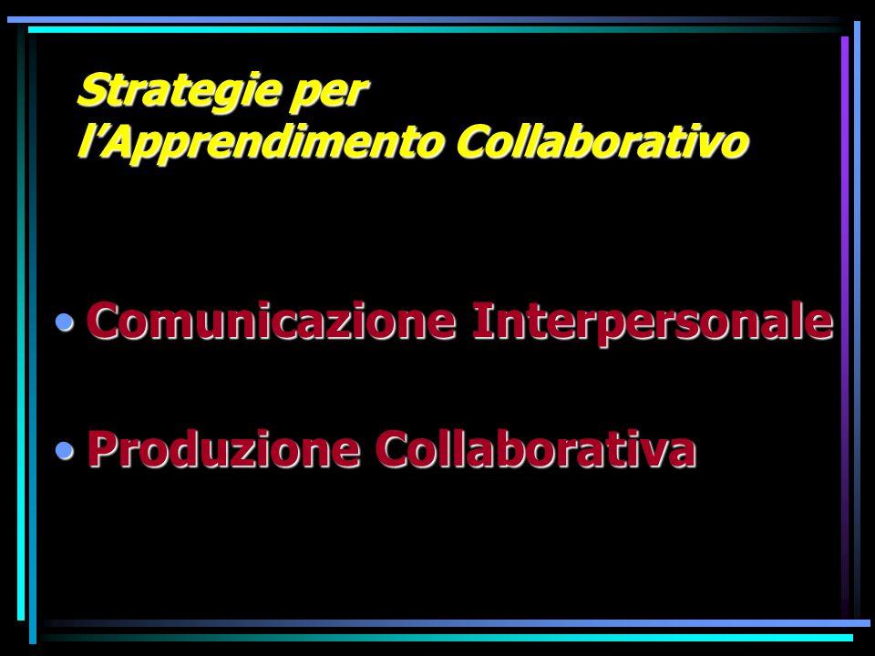 Strategie per lApprendimento Collaborativo Comunicazione InterpersonaleComunicazione Interpersonale Produzione CollaborativaProduzione Collaborativa