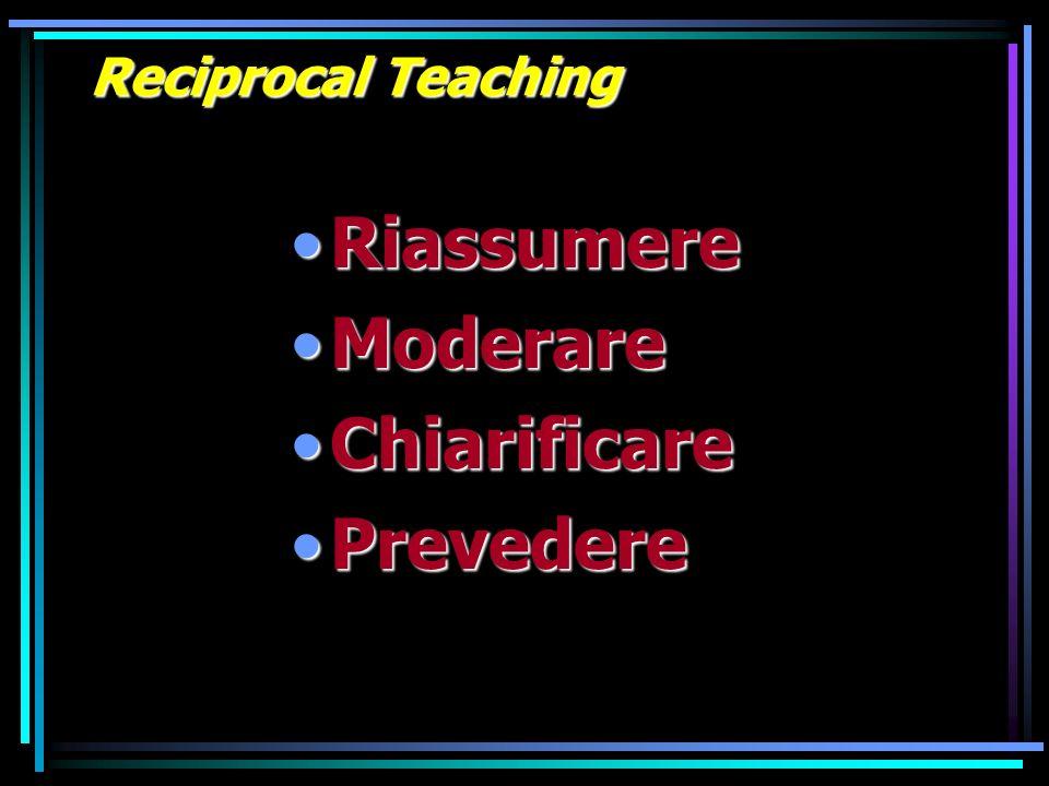Reciprocal Teaching RiassumereRiassumere ModerareModerare ChiarificareChiarificare PrevederePrevedere
