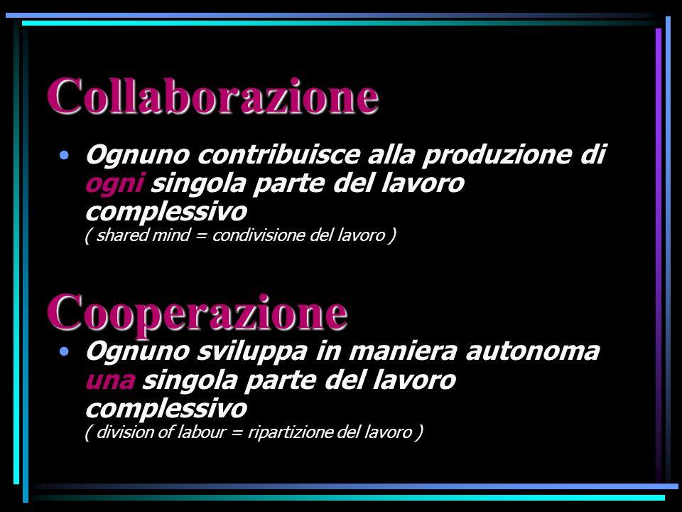 Ognuno contribuisce alla produzione di ogni singola parte del lavoro complessivo ( shared mind = condivisione del lavoro ) Ognuno sviluppa in maniera