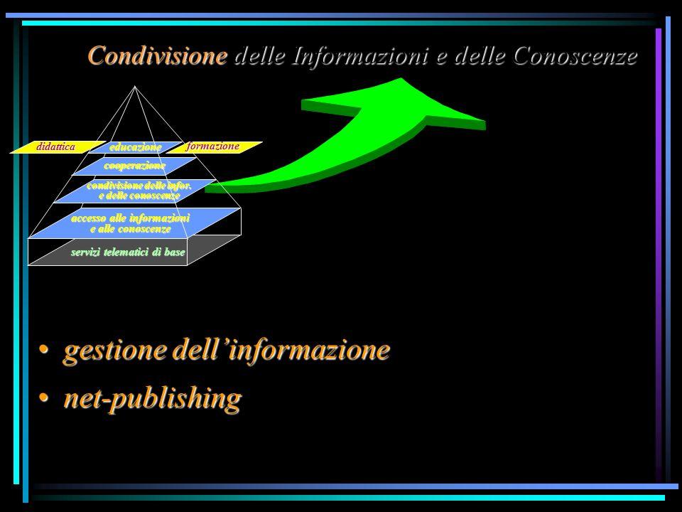 Condivisione delle Informazioni e delle Conoscenze accesso alle informazioni e alle conoscenze condivisione delle infor. e delle conoscenze educazione