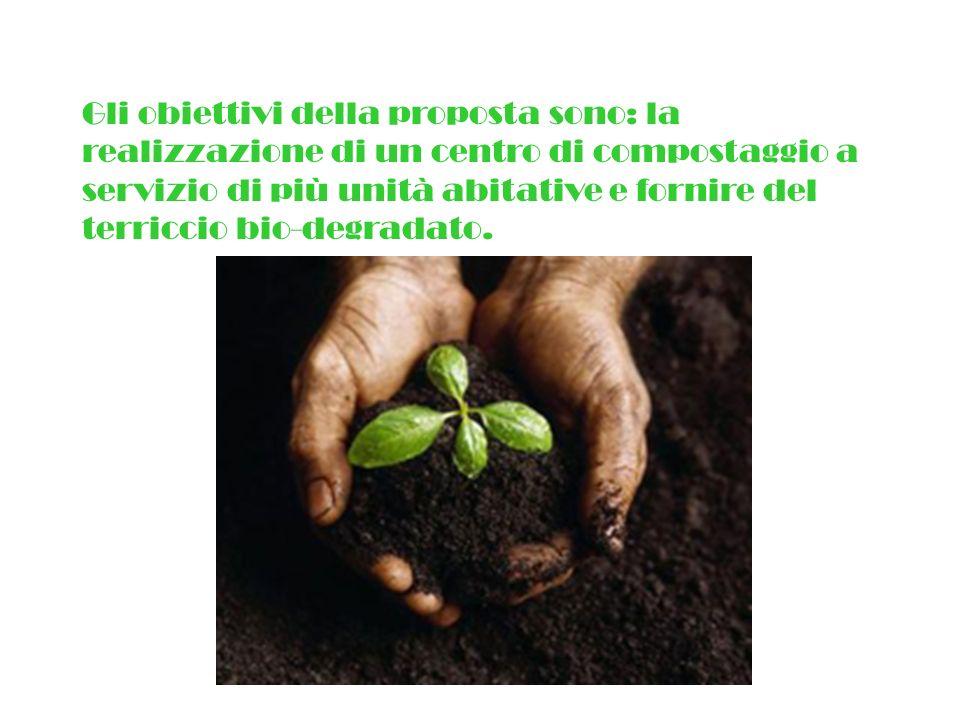 Gli obiettivi della proposta sono: la realizzazione di un centro di compostaggio a servizio di più unità abitative e fornire del terriccio bio-degrada