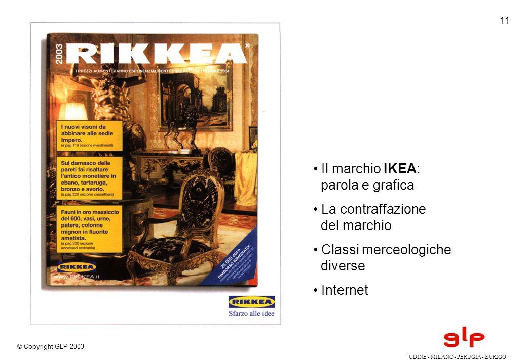 UDINE - MILANO - PERUGIA - ZURIGO © Copyright GLP 2003 11 Il marchio IKEA: parola e grafica La contraffazione del marchio Classi merceologiche diverse Internet