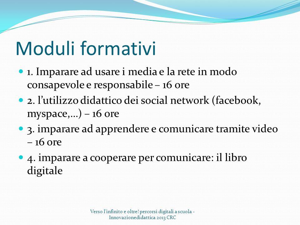 Moduli formativi 1. Imparare ad usare i media e la rete in modo consapevole e responsabile – 16 ore 2. lutilizzo didattico dei social network (faceboo