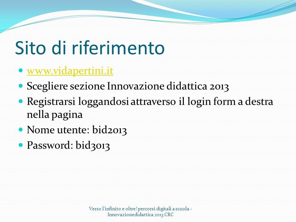 Sito di riferimento www.vidapertini.it Scegliere sezione Innovazione didattica 2013 Registrarsi loggandosi attraverso il login form a destra nella pag