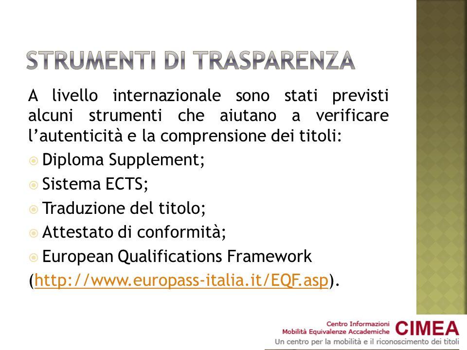 A livello internazionale sono stati previsti alcuni strumenti che aiutano a verificare lautenticità e la comprensione dei titoli: Diploma Supplement;