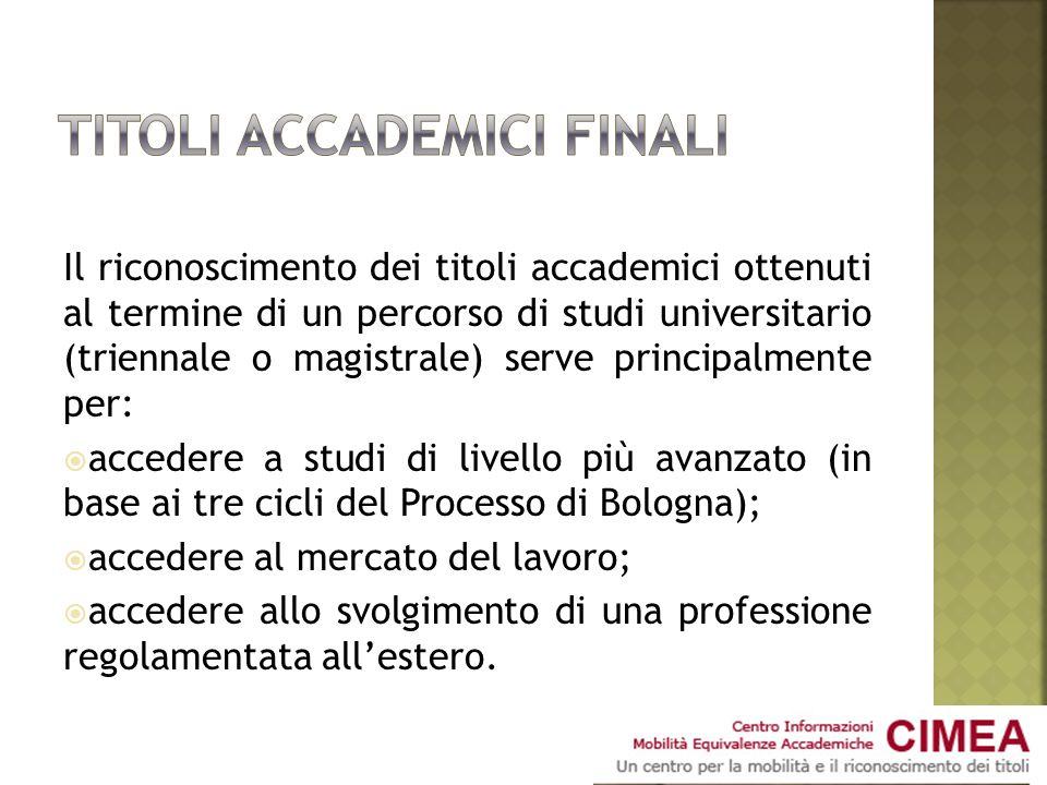 Il riconoscimento dei titoli accademici ottenuti al termine di un percorso di studi universitario (triennale o magistrale) serve principalmente per: a