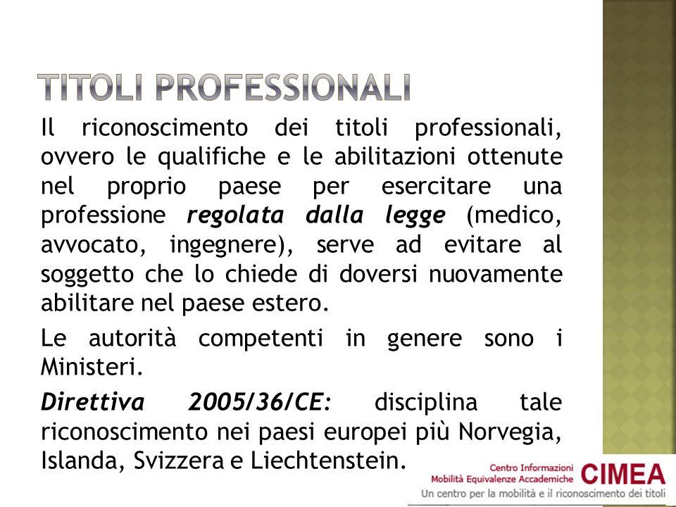 Il riconoscimento dei titoli professionali, ovvero le qualifiche e le abilitazioni ottenute nel proprio paese per esercitare una professione regolata