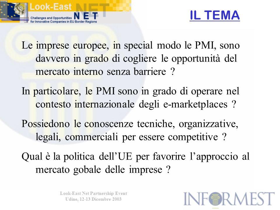 IL TEMA Look-East Net Partnership Event Udine, 12-13 Dicembre 2003 Le imprese europee, in special modo le PMI, sono davvero in grado di cogliere le opportunità del mercato interno senza barriere .